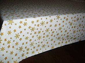 Úžitkový textil - Vianočný obrus hviezdy a vločky - 11068655_