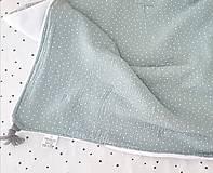 Textil - Mušelínová deka mineral green s minky flis 70x90cm - 11070999_