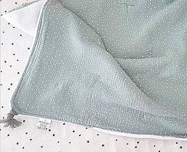Textil - Mušelínová deka mineral green s minky flis 70x90cm (Light grey) - 11070999_