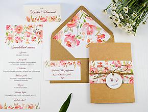 Papiernictvo - Svadobné oznámenie Belle s manžetou - 11071365_