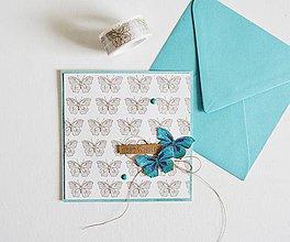 Papiernictvo - Gratulačný pozdrav - motýle - 11071041_