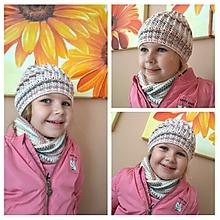 Detské čiapky - Set pre dievčatko - čiapka + nákrčník - 11070676_