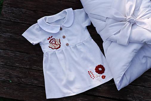 Ľanové detské šaty s výšivkou