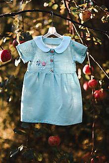 Detské oblečenie - Ľanové detské šaty s výšivkou - 11069398_