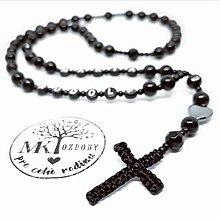 Iné šperky - Smútočný ruženec s pleteným krížom - 11070411_