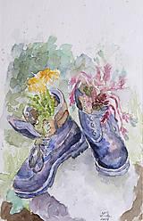 Obrazy - Staré topánky - akvarel - 11070061_
