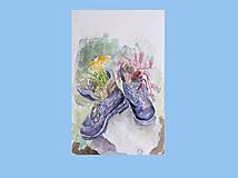 Obrazy - Staré topánky - akvarel - 11070062_
