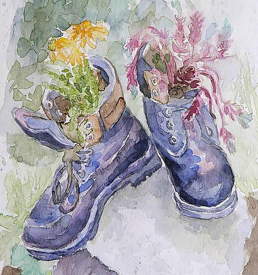 Staré topánky - akvarel