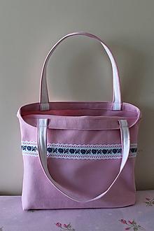 Nákupné tašky - ružová taška s krajkou vintage - 11070098_