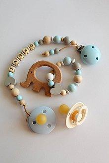 Detské doplnky - Set alebo samostatná retiazka na cumlík s menom a hryzátko svetlomodré - 11069786_