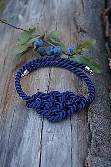 Náhrdelníky - Uzlový náhrdelník  tmavomodrý - 11071067_