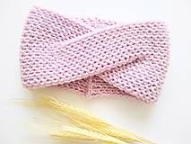 Detské čiapky - Turban čelenka ružová - 100% merino - 11070758_