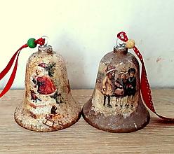 Dekorácie - vianočné vintage zvončeky - 11070334_