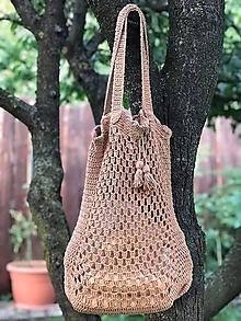 Nákupné tašky - háčkovaná sieťovka - zemitá farba - 11071163_