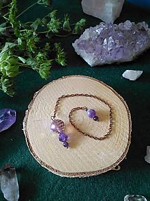 Iné šperky - Fialové kyvadlo (Ametyst) čakra tretie oko - 11069583_