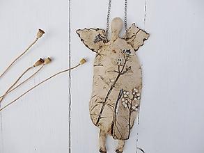 Dekorácie - Keramický anjel prírodný na retiazke - 11072759_