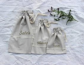 Úžitkový textil - Vrecká na bylinky mix (set 3ks) - 11074208_