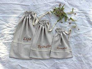 Úžitkový textil - Vrecká na bylinky mix (set 3ks) (Béžové písmo) - 11074263_