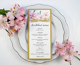 Papiernictvo - Svadobné menu Elise s mašľou - 11073354_