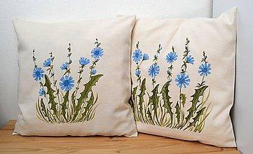 Úžitkový textil - Vankúš-ručne maľovaný-Čakanka - 11072772_