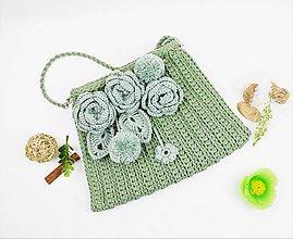 Kabelky - Kabelka natur sivozelená s kvetmi - 11074246_