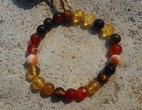 Náramky - farby jesene-achát,tigrie oko,citrín.. - 11073983_