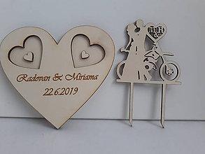 Dekorácie - Srdce na obrúčky, personalizovaný zápich - 11074181_