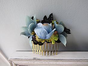 """Ozdoby do vlasov - Kvetinový hrebienok """"Romantika v modrej"""" - 11072960_"""