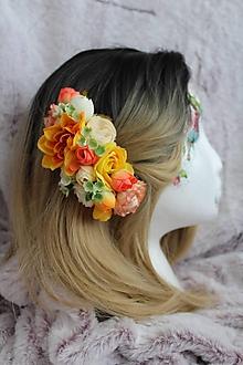 """Ozdoby do vlasov - Kvetinový hrebienok do vlasov """"letné lúče slnka"""" - 11072619_"""