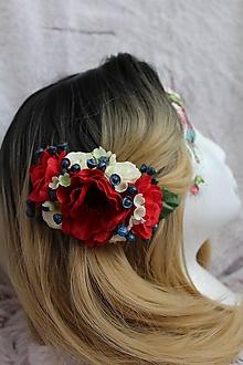 """Ozdoby do vlasov - Kvetinový hrebienok do vlasov """"folklórny"""" - 11072631_"""