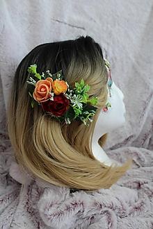 """Ozdoby do vlasov - Kvetinový hrebienok do vlasov """"bordó-marhuľkový"""" - 11073341_"""