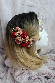 """Ozdoby do vlasov - Kvetinový hrebienok do vlasov """"bordó-ružový"""" - 11073374_"""