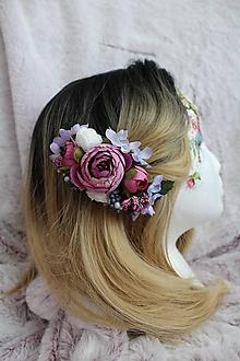 """Ozdoby do vlasov - Kvetinový hrebienok do vlasov """"fialový"""" - 11073432_"""