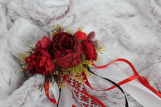 """Ozdoby do vlasov - Svadobný kvetinový hrebienok do vlasov """"bordový"""" - 11073544_"""