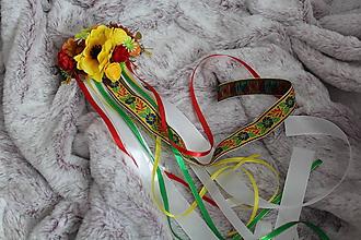 """Ozdoby do vlasov - Svadobný folklórny hrebienok do vlasov """"žltý"""" - 11074211_"""