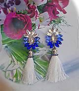 Náušnice - bielo modré s bielym strapcom - 11073379_