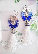 Náušnice - bielo modré s bielym strapcom - 11073380_
