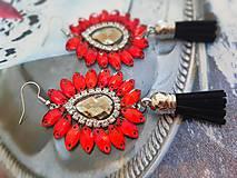 Náušnice - červené kamienkové - 11073389_