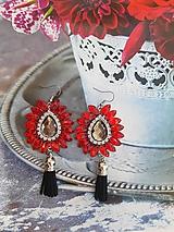Náušnice - červené kamienkové - 11073390_