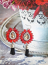 Náušnice - červené kamienkové - 11073391_