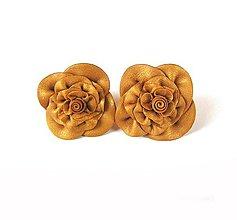 Náušnice - Zlaté kvety - 11072737_