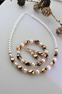 """Sady šperkov - Luxusná súprava perly swarovski a hematit """"červené zlato"""" - 11073650_"""