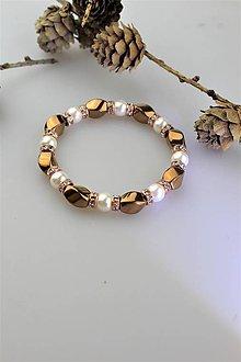 Náramky - perly swarovski a hematit náramok - 11074068_