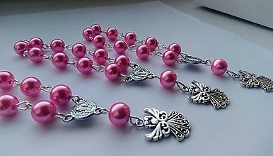 Iné šperky - Ruženec v ružovej farbe - anjel - 11071656_