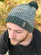 Čiapky - Zeleno-smotanová čiapka - 11073033_