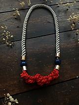 Náhrdelníky - Červené uzlíky na šedém laně - 11073337_
