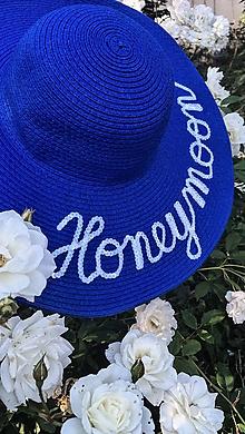 Čiapky - Letný klobúk modrej farby - 11073133_