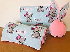 Textil - Detska deka a vankus minky ruzova macko its a girl - 11072537_
