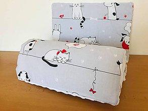 Textil - Detska deka a vankus minky biela pes a macka - 11072570_