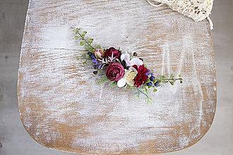 Ozdoby do vlasov - Kvetinovový štvrťvenček ,,bordový,, - 11073615_